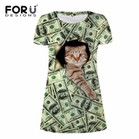 FORUDESIGNS Green Novelty 2018 New Banknote Cat Print Dress Women Summer Dresses O neck Elbise Sexy Short Dress Big Size XS XL