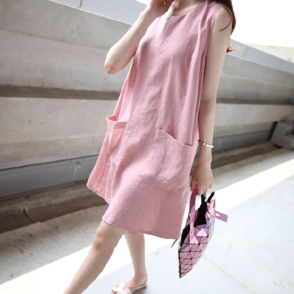 Plus Size Women Cotton Linen Loose Dress With Pocket Sleeveless O Neck Solid Tunic Dress women Midi Loose summer Dress Female