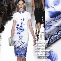 1 1m Piece Big Digital Painting Silk Fabrics Mulberry Silk Fabric Stretch Satin Blue And White