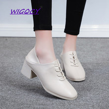 PU Square Toe Square heel High heels off White pumps women shoes 2019 Spring Autumn shoes women Fashion Lace-Up shoes female недорого