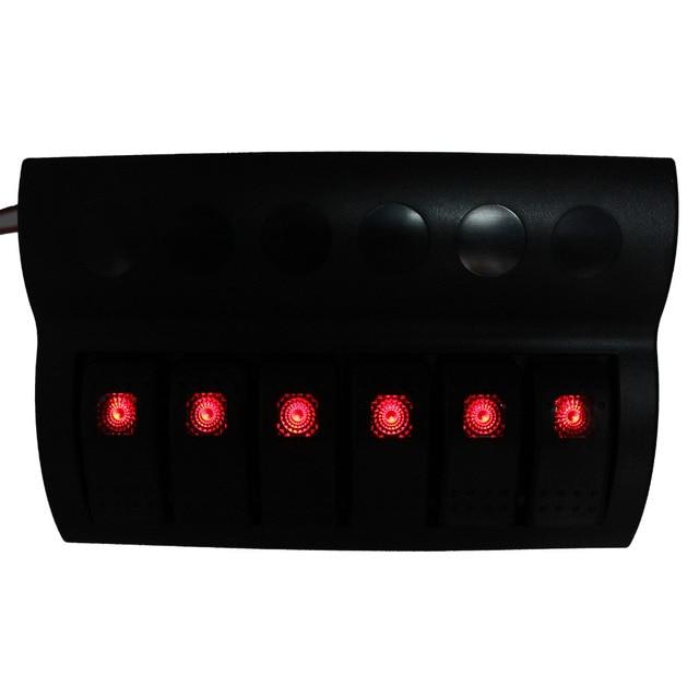 Nuevo 6 Gang Marine Puente Panel de Interruptores de Control Con Indicador LED Rojo Rocker Disyuntor 12 V 24 V envío Gratis