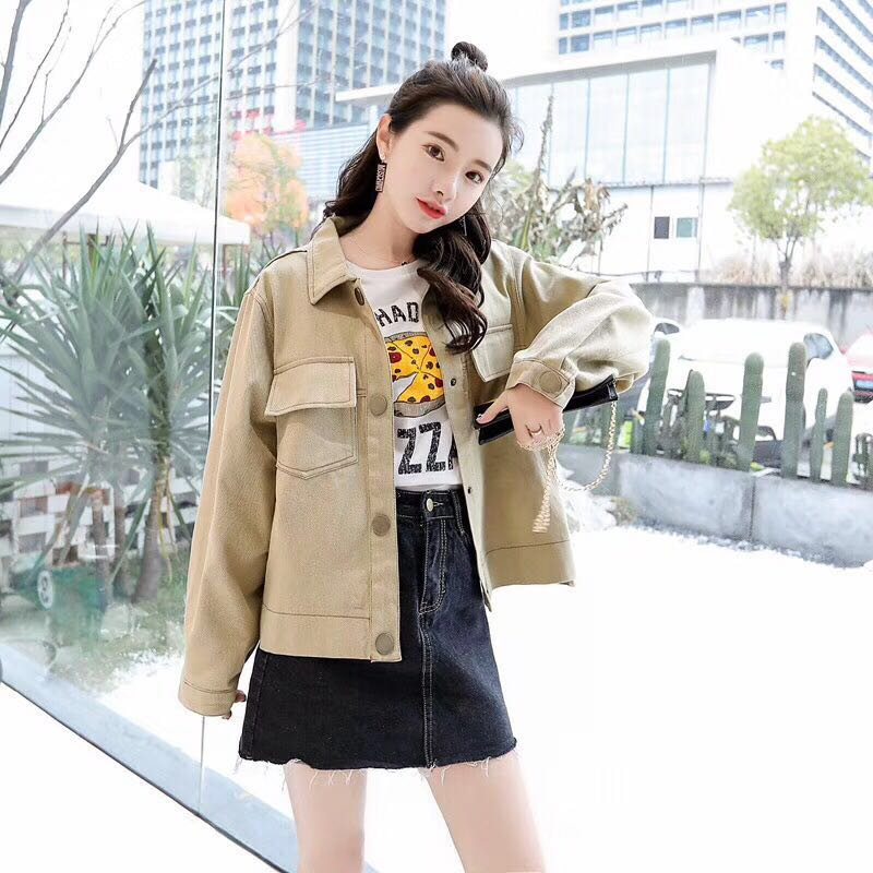 Women popular new Denim Jacket Autumn Womens Jackets and Coats beige Single Breasted Casual Fall Jacket