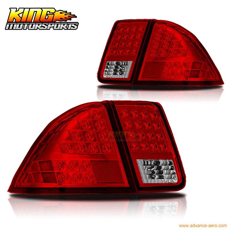 Adapte 01 02 03 04 05 Honda Civic 4Dr Berline LED De Frein Feux Arrière Lampes Chrome Rouge USA Domestique Livraison gratuite Vente Chaude