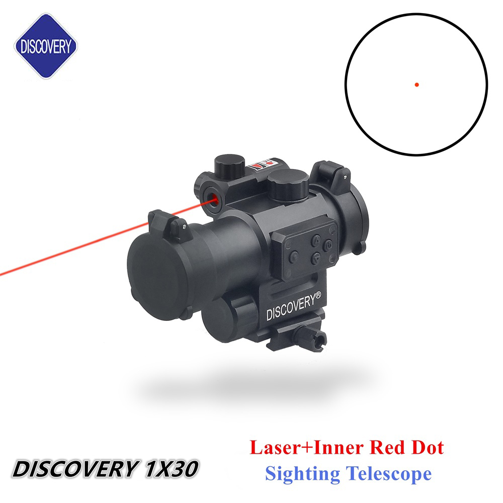Hot sale DISCOVERY 1X30 laser red dot sight scope Tactical hunting optic airsoft Rifle Red Dot scope whole sale hot sale new 5x tactical airsoft periscope rifle scope for airsoft hunting shooting