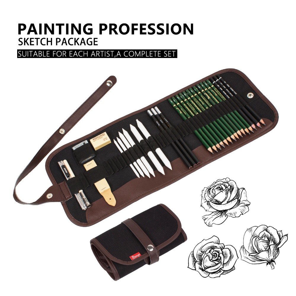 Bianyo 25 30Pcs Charcoal Earser Knife Drawing Pencil Sketch Painting Canvas Pencil Bag Set Christmas Gift for Kid in Standard Pencils from Office School Supplies