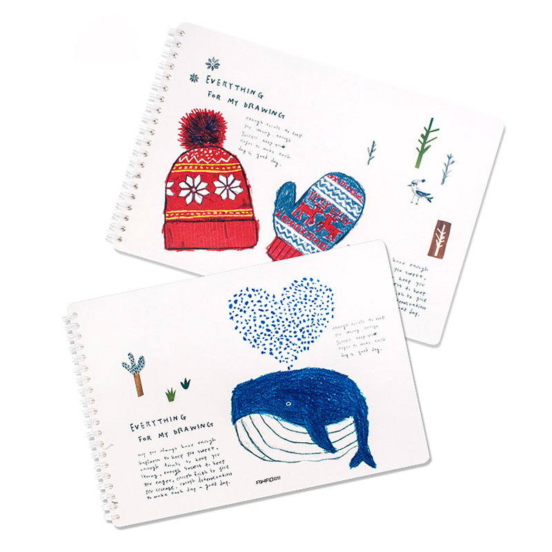 Cute Cartoon Hat A4 16K Drawing Watercolor Paper Sketch Book for Painting Art Student Supplies kicute 1pc art thick blank paper sketchbook drawing book for drawing painting sketch scrawl student stationery pattern random