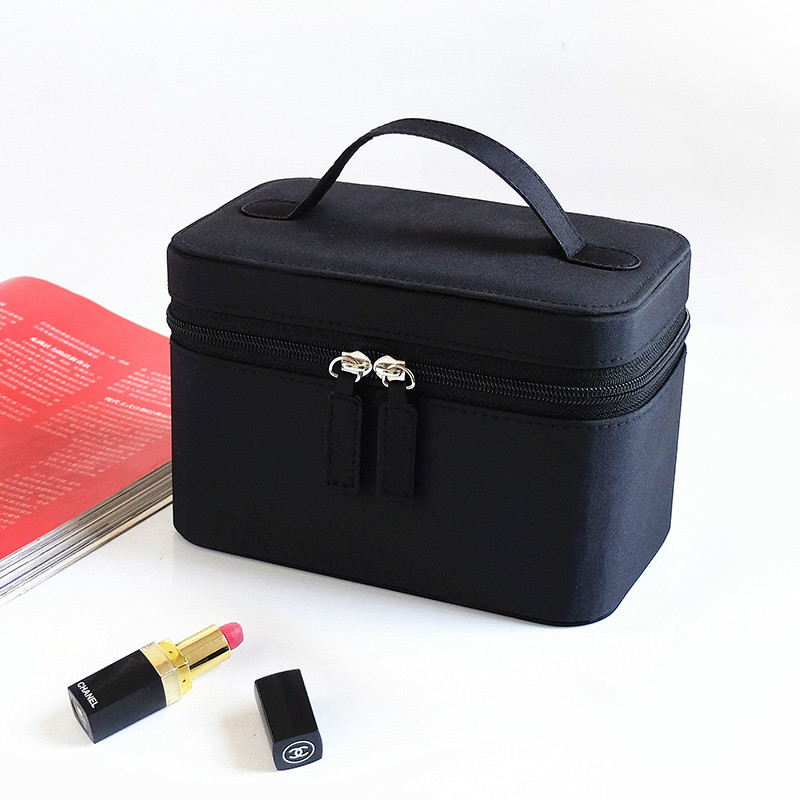 Cosmetic Bag Make up Bags Travel Makeup Bag Square Bow Striped Beauty Case Best Gift Girls Zipper Storage Pouch Organizer Bag