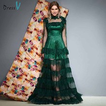 Dressv dark green evening dress high neck a line floor length lace long sleeves wedding party formal dresses