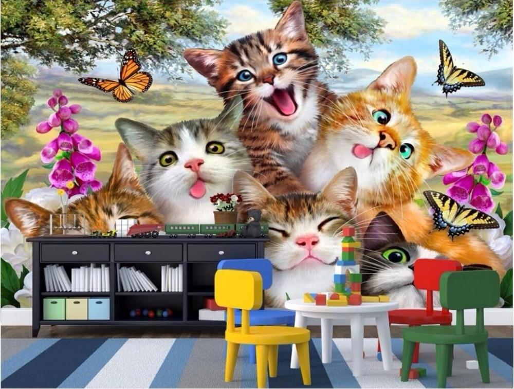 Wdbh Niestandardowy Mural Tapety 3d Piękny Kot Na Trawie Dekoracji