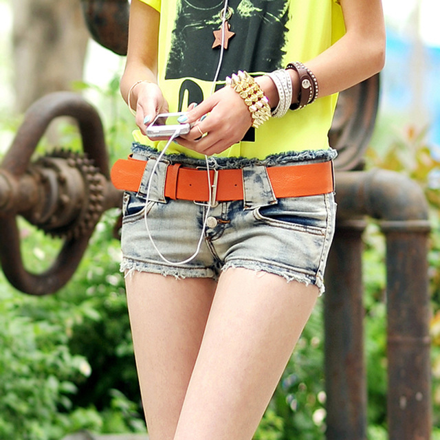 With Belt! 2016 Fashion new women denim shorts low-waisted woman shorts jeans water wash hot short jeans 26-30