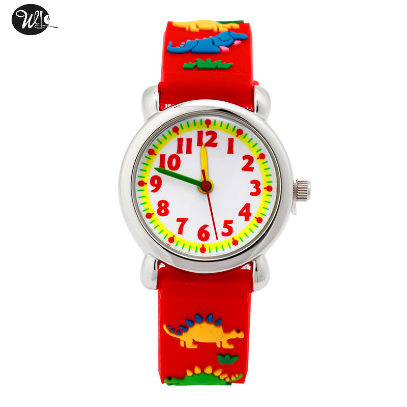 Children's Gift Watch Quartz 3D Strap Cartoon Red Dinosaur Watch Pointer Fashion Electronic Waterproof Watch Children's Watch