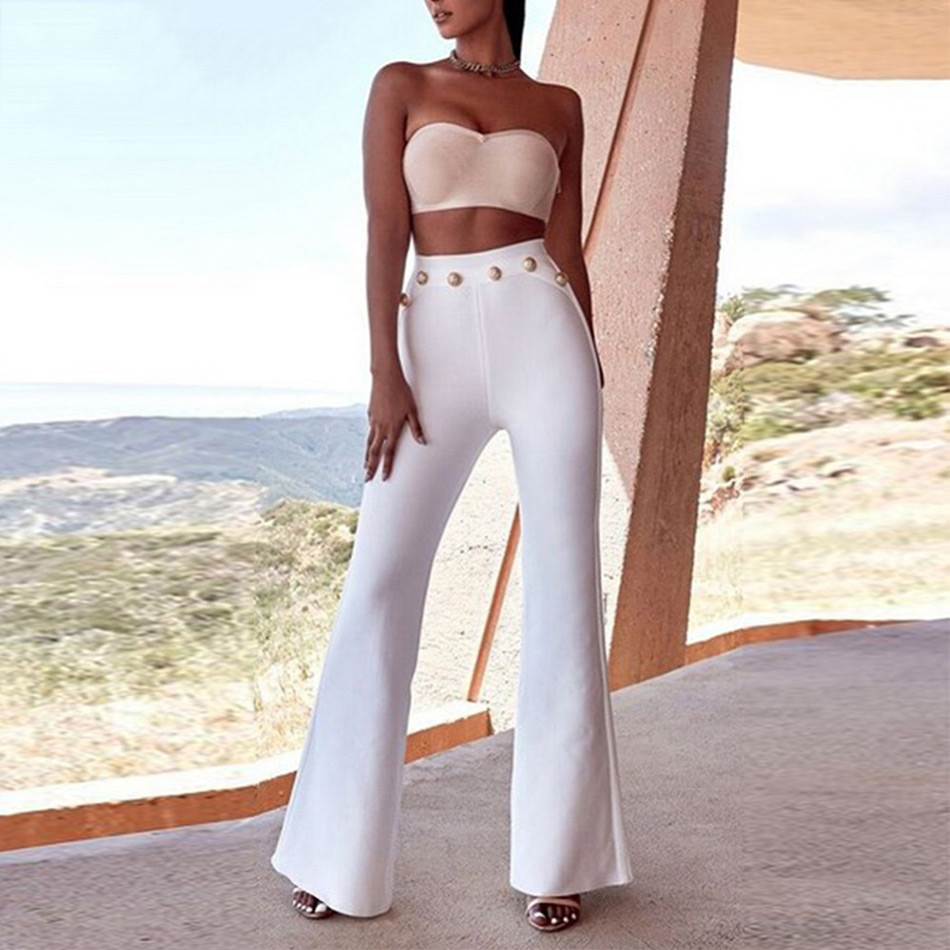 Image 1 - Seamyla 2019 New Summer Flare Pants Women Sexy Skinny Pant High Waist White Red Black Trousers Party Bodycon Bandage Pants Long-in Pants & Capris from Women's Clothing
