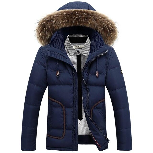 Mens Invierno Gruesa Por la Chaqueta 2016 de la moda de pato blanco Abajo abrigos hombre ropa Delgada de Piel verdadera de los hombres Parka con capucha Libre gratis