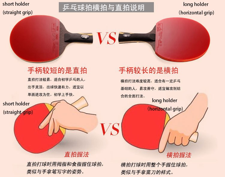 Hybrid Wood Table Tennis Grip Short Pimple In Pingpong Racket Holder