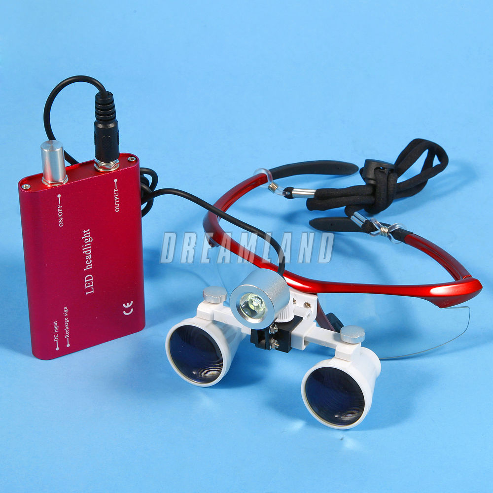 Dental Binocular Loupes Magnifier Glasses+LED Head Light Lamp Red JNDH folding tv screen magnifier 3dpt maxtv binocular glasses magnifying glasses for far sighted presbyopia people