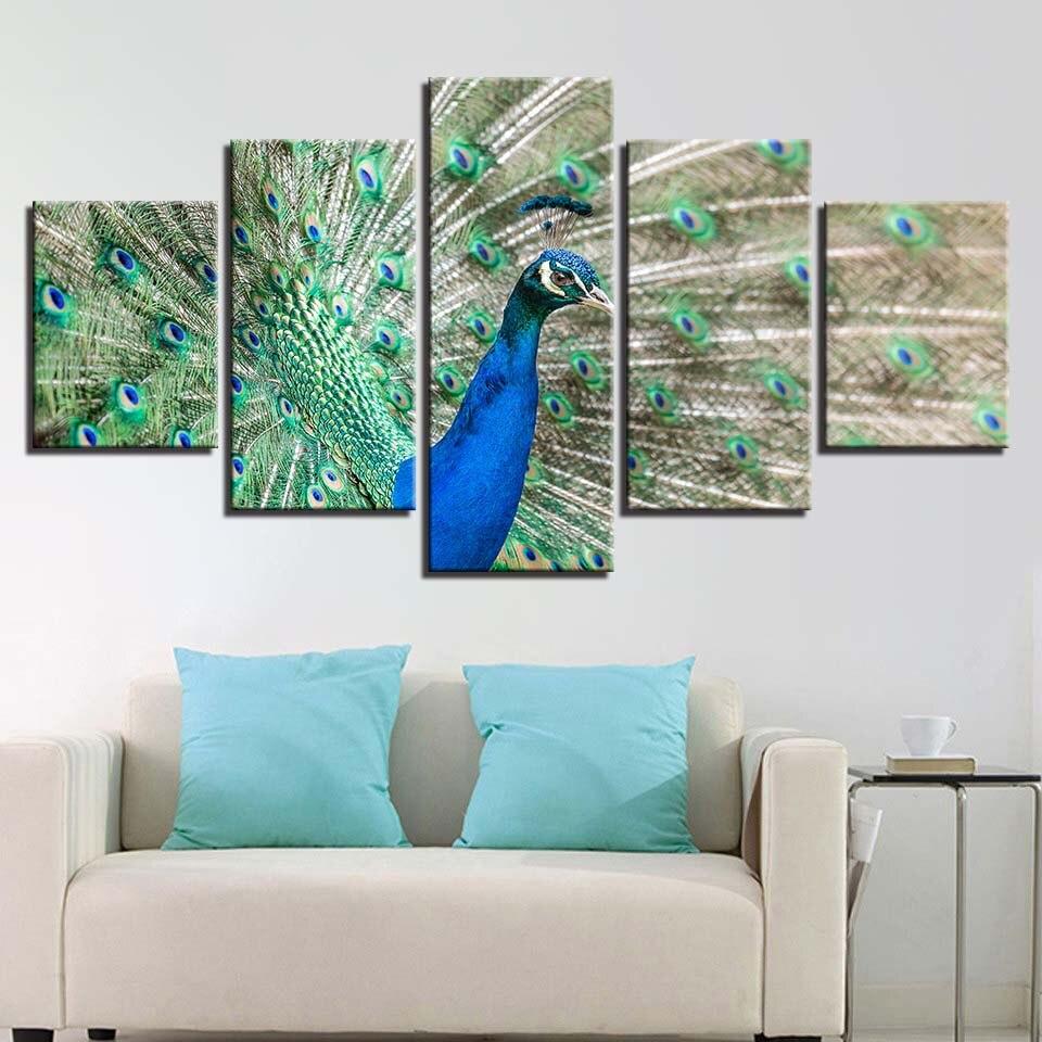 Tuval Hayvan Posteri Ev Dekor Duvar Sanatı HD Baskılar 5 Adet Güzel Gurur Tavuskuşu Resim Sergisi Oturma Odası Resimleri Çerçeve