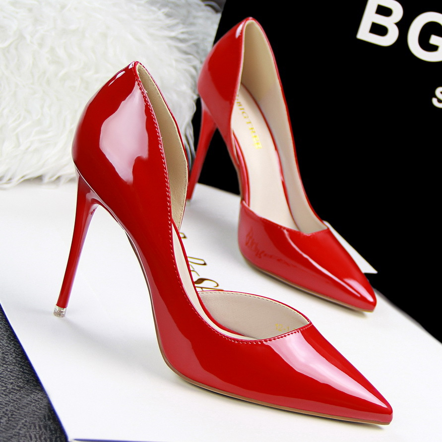 2015 New Sexy Fashion Thin High Heels font b Women b font Shoes PU Nightclub 10CM