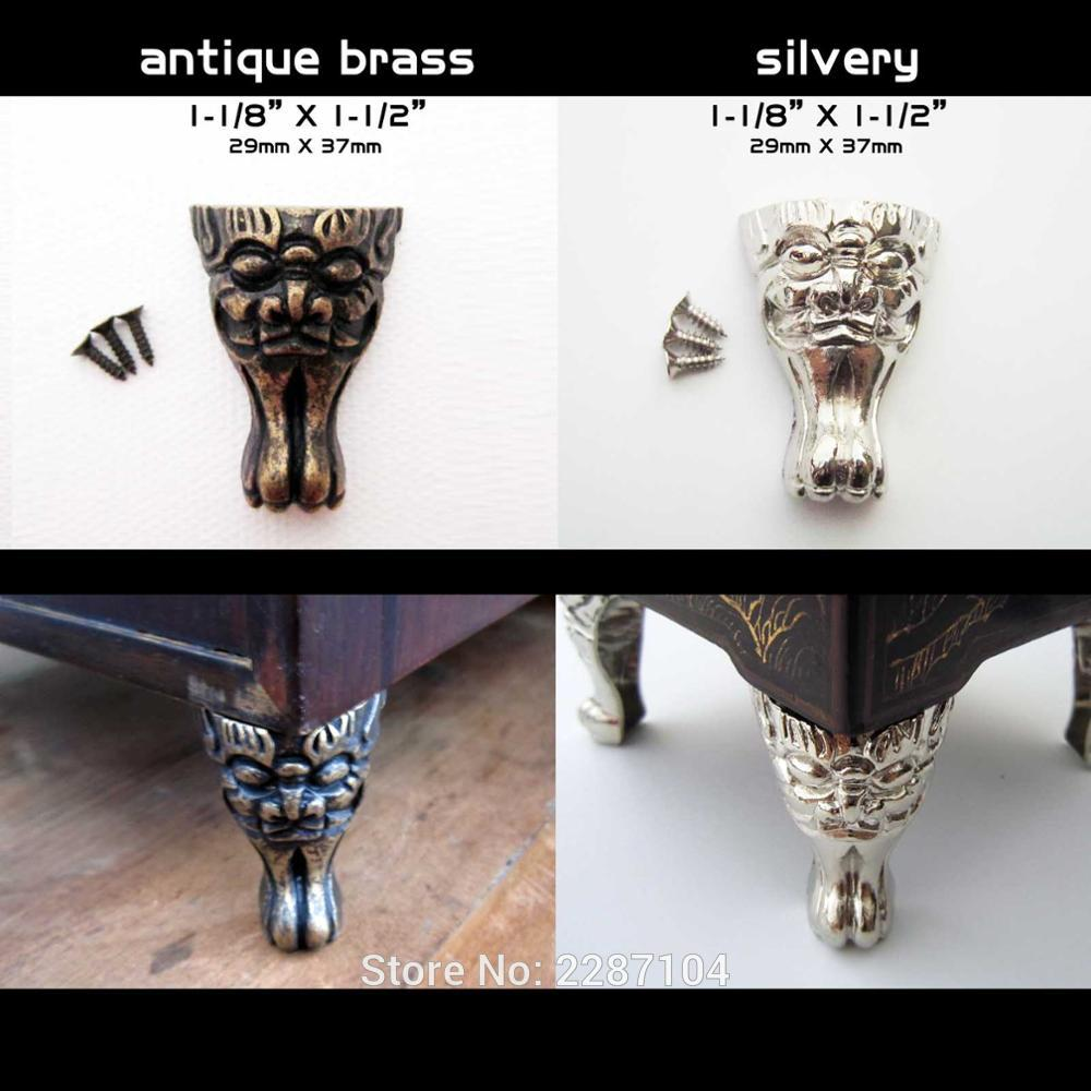 4pcs New Decorative Antique Brass Silvery Vintage Face Cheetah Cat Jewelry Chest Box Wooden Case Feet Leg Corner Protector
