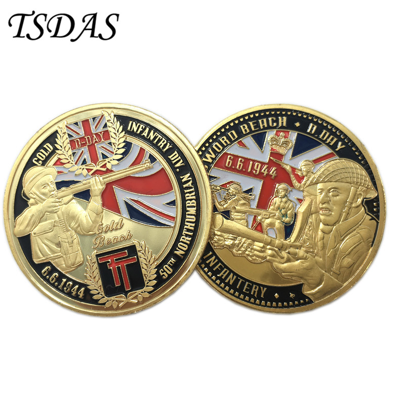 Cheap Custom Metal Coins BRITISH INFANTRY Coins Gold Plated, High Quality 6.6.1944 D.Day 24K Gold Plated Coin as Gifts