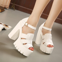 Fashion 2016 new summer wedges platform sandals women Black and White open toe high heels female shoes Free shipping