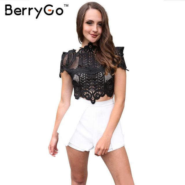 BerryGo Summer style elegant  black lace women tops Causal short sleeve white blouse shirt Sexy beach hollow out girls crop tops