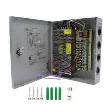 Caja de interruptor de fuente de alimentación CCTV de 9 canales fundida DC12V 10A para cámara de vigilancia salida de seguridad 120W,9 puertos CE, aprobado LVD