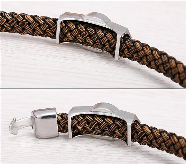 Death Note Silver Alloy Bracelets Leather Woven Punk Bangle