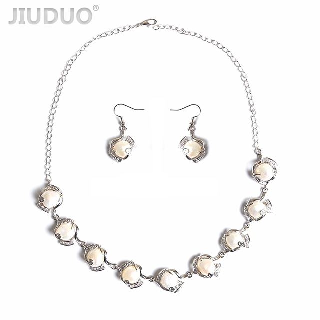 JIUDUO HOT Sale Jewelry Set European&American style crystal pearl necklace with Earring for women With 925 Silver Clasp JS19