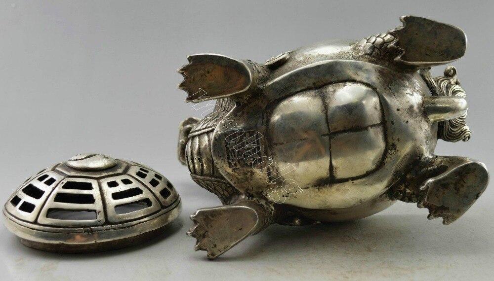 Brûleur d'encens en forme de Dragon argenté tibétain - 5