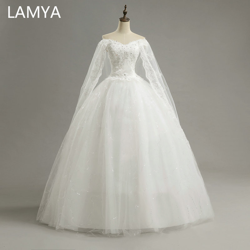LAMYA Princess Customized Wedding Dresses 2019 Lace Vintage Bridal Gowns Cheap Off The Shoulder Wed Dress vestidos de noiva in Wedding Dresses from Weddings Events
