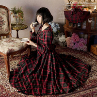 French Retro Mori Girl Long Sleeves Maxi Plaid Cotton Dress 2019 Spring BLACK & RED