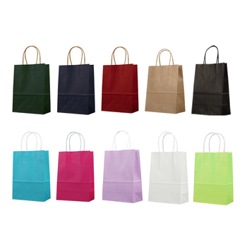 21*15*8cm 10 Colors Kraft Paper Bag With Handle Festival Hand Bag Gift Bag 100pcs/lot Free shipping