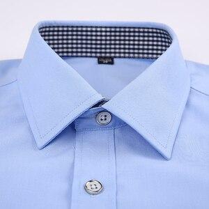 Image 3 - Мужская классическая рубашка под смокинг, формальная деловая рубашка с длинными рукавами и французскими манжетами на пуговицах, свадебная одежда