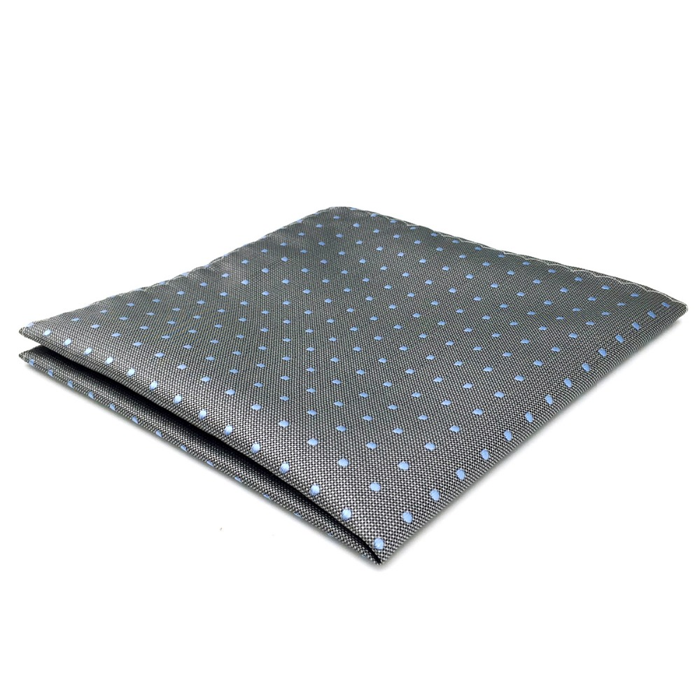 DH21 Grey Blue Dots Mens Pocket Square Silk Fashion Handkerchief Wedding Hanky