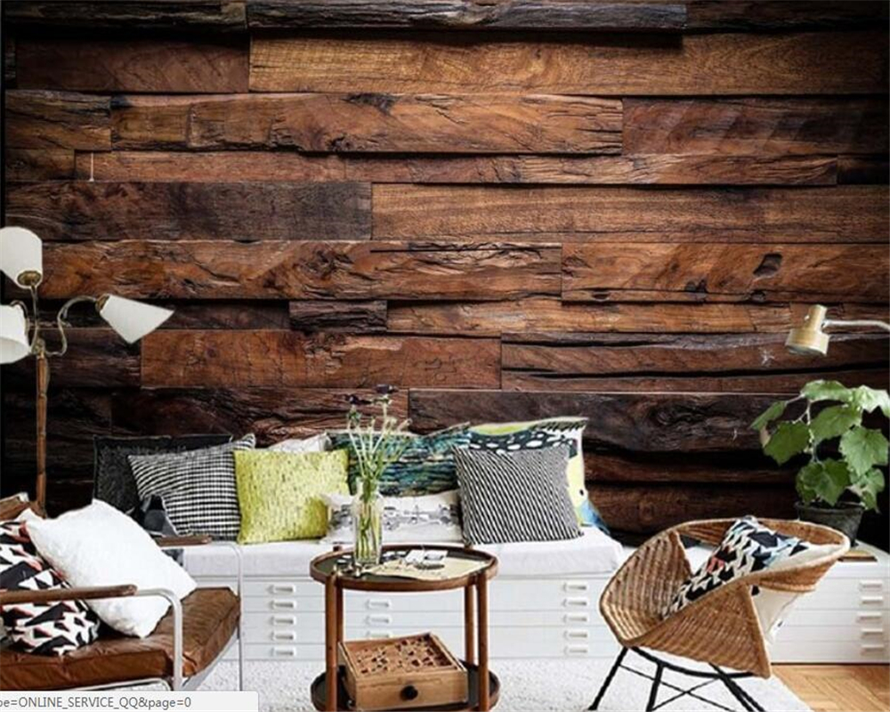Купить с кэшбэком papel de parede customize Ceiling 3D Wallpaper Dark Retro Nostalgic Striped Living Room TV Wall wall papers home decor beibehang