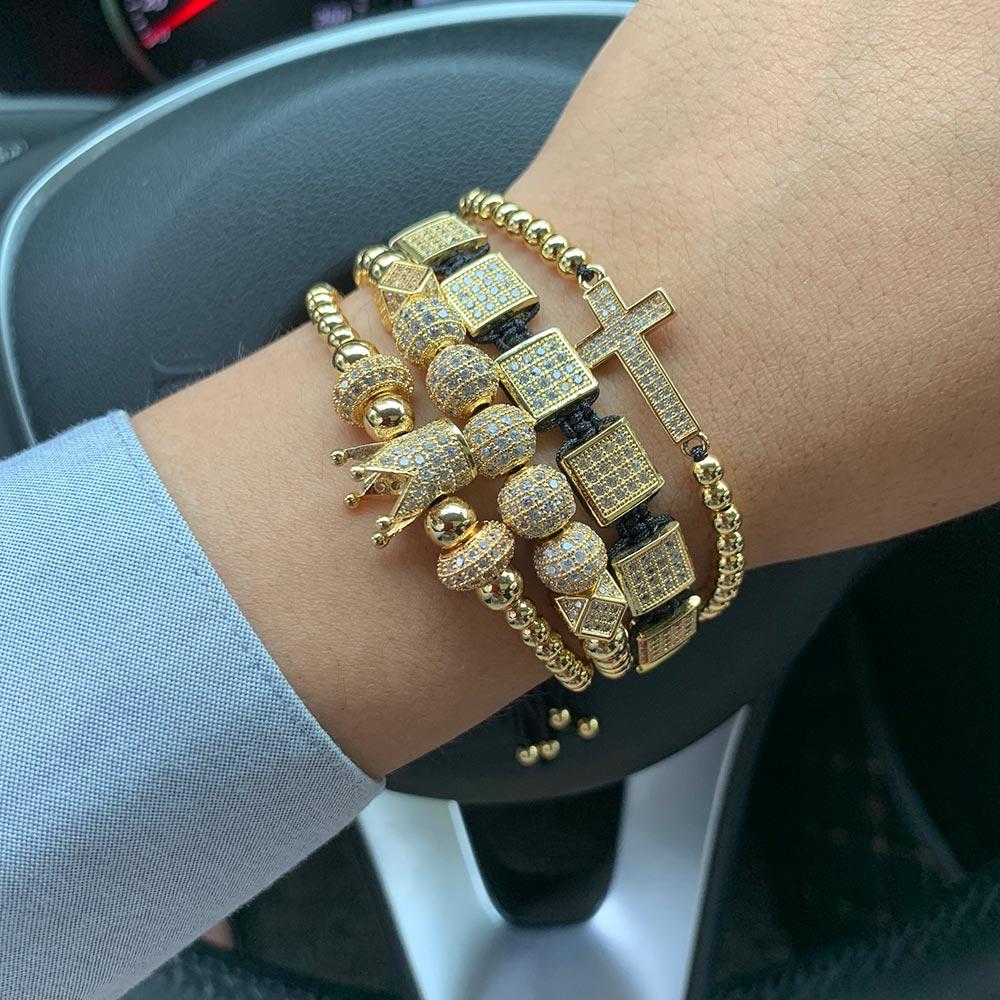 4pcs/set Luxury CZ Gold crown cross Charm mens bracelet stacks copper beads Macrame bracelets & bangles for mens accessories