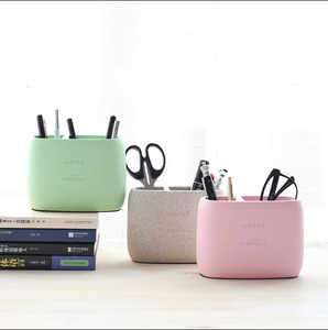 Image 5 - 1 Pcs High Quality Pen holder Office Organizer Cosmetic Pencil Pen Holders Resin Stationery Container Office Supplies