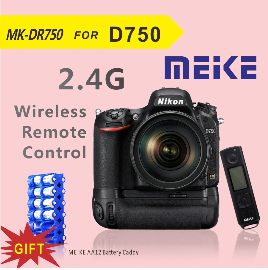 New Arrival Meike MK DR750 2.4G wireless Remote Control Battery Grip for Nikon D750+Free Battery Caddy