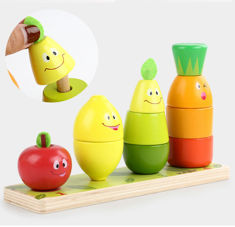 Free shipping Wood fruit intellectual building blocks enlighten children 39 s toys Fruit Pile Tower Cartoon fruit puppet Baby toy in Sorting Nesting amp Stacking toys from Toys amp Hobbies