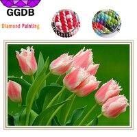GGDB Pink Tulip Handwork Diamond Embroidery 5D DIY Diamond Painting Full Resin Diamond Mosaic Drill Round