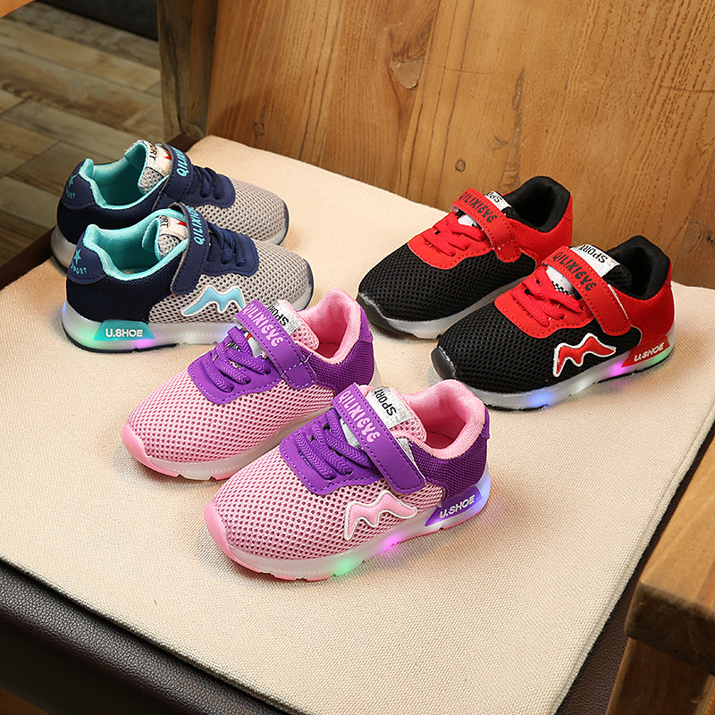 Mesh Lovely soft LED lighted children sneakers cute Hook&Loop fashion baby girls boys shoes cool kids toddlers tennis footwear