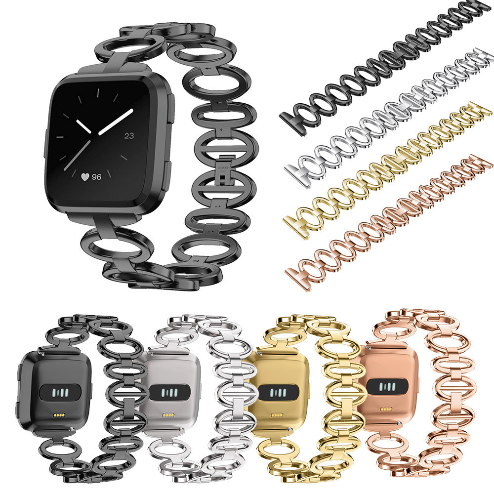 Stainless Steel Chain Style Bracelet Smart Watch Band Strap For Fitbit Versa wearable devices fitness bracelet activity tracker