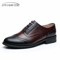 Phenkang Women Genuine Leather Oxford Retro US9 8 5 Shoes Brown Black Comfortable Round Toe 2