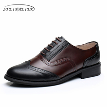Phenkang Women Genuine leather oxford retro US9 8.5 shoes brown black comfortable round toe 2.5cm heel oxfords shoes for women  цены онлайн