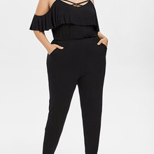 Wipalo Plus Size Lattice Ruffle Jumpsuits Overalls Summer Women Sexy Casual Criss Cross Spaghetti Strap Long