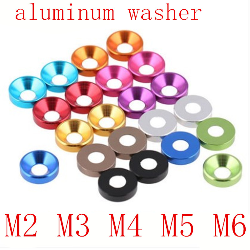 Bolt Washers Countersunk-Head Anodized Aluminum M3 20pcs M5 M4 M6 M2 Colourful Pink/purple