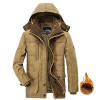 Men Winter Jacket Outwear Thick Warm Hooded Parka Military Cargo Mens Winter Coat Fleece Male Overcoat 5XL drop shipping LBZ33