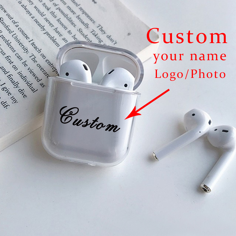Custom name Clear Transparent Soft Silicone Cute <font><b>Case</b></font> For Air Pods <font><b>Case</b></font> for Bluetooth <font><b>Airpod</b></font> <font><b>Cases</b></font> Cover DIY Customized Letters image