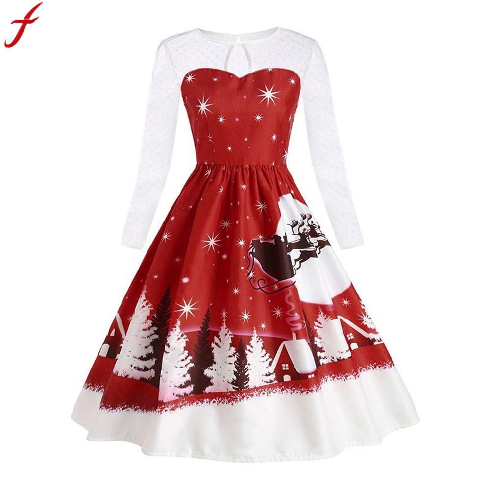 e77838b34e255 Feitong 2019 New Fashion Autumn Dress Women Vintage Lace Long Sleeve Print  Christmas Party Swing Dress vestidos mujer