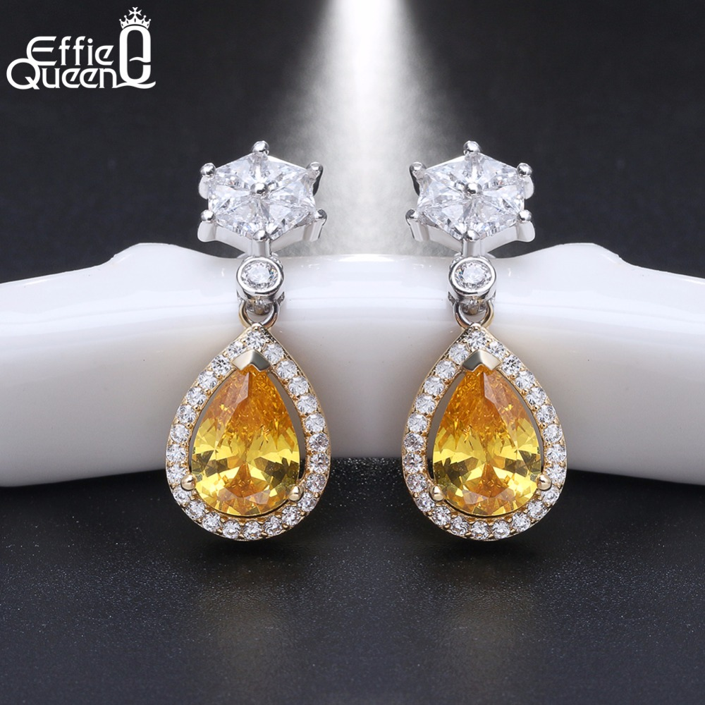 Effie Queen 100% 925 Sterling Silver Earrings for Women Water Drop AAA CZ Crystal S925 Woman Earrings Gift for New Year BE39 pair of graceful faux crystal rhinestoned water drop earrings for women